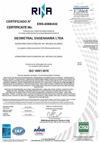 Certificação ISO 14001:2015
